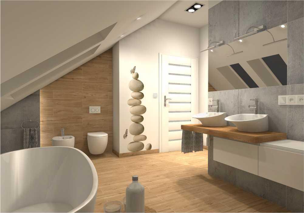 Łazienka na poddaszu – prywatny dom jednorodzinny